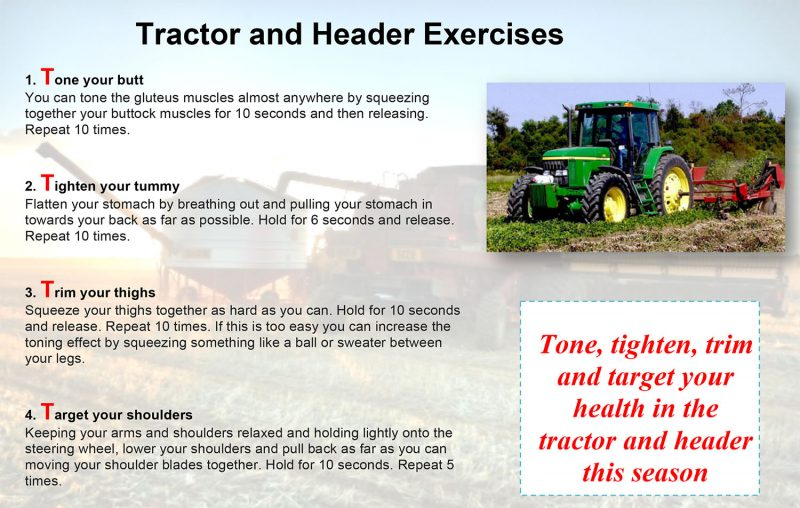 tractor and header exercises