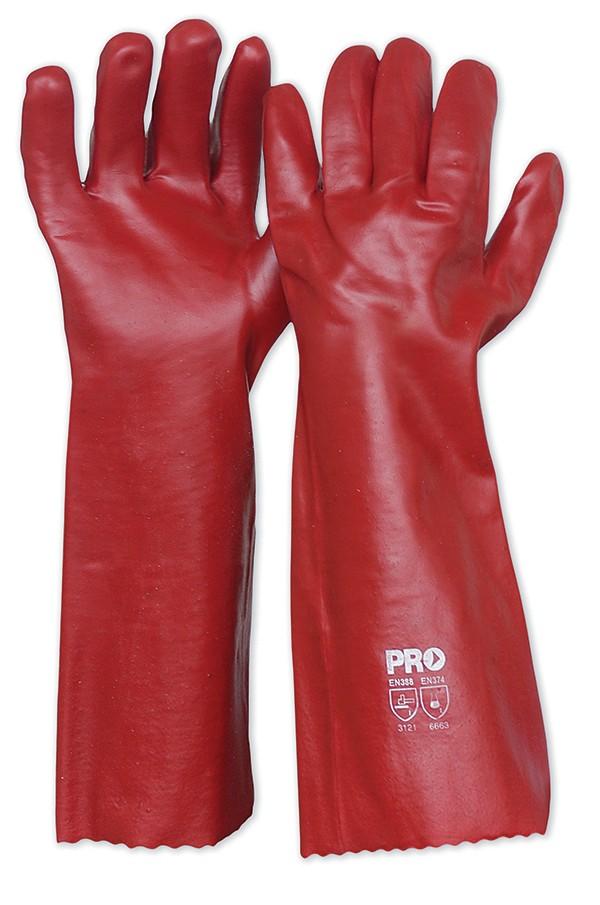 Red PVC Gloves 45cm Length
